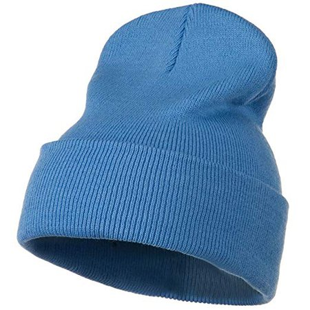 12 Inch Long Knitted Beanie - Sky Blue OSFM W17S28F at Amazon Men's Clothing store: Skull Caps