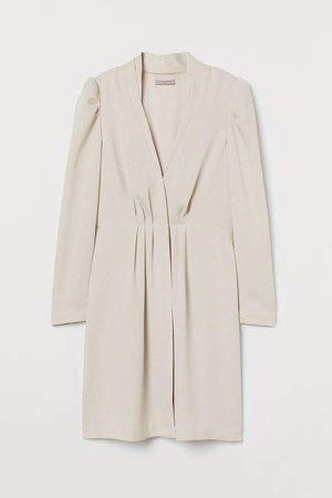 Puff-sleeved Jacket Dress - Beige