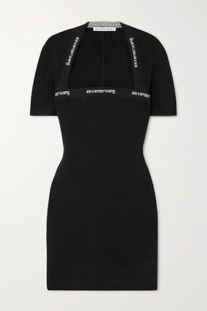 Intarsia Stretch-knit Mini Dress - Black