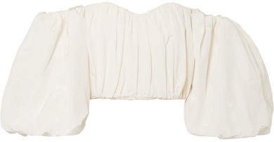 Lady Chatterley Off-the-shoulder Cotton-blend Moire Top - Ivory
