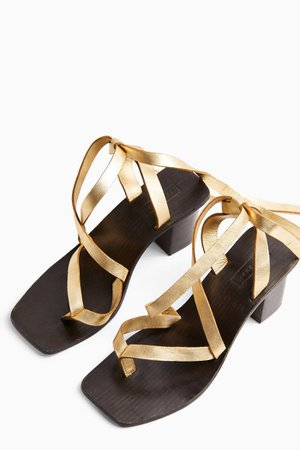 VANITY Gold Leather Wrap Block Sandals | Topshop