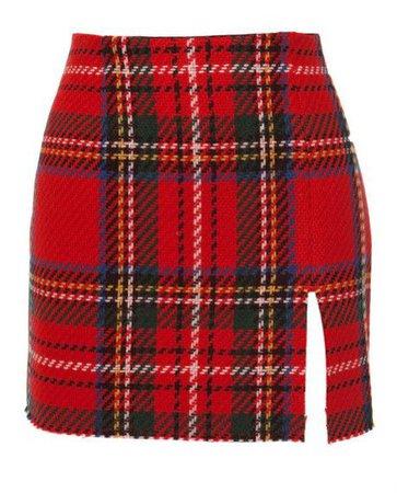 Opening Ceremony Red Woolblend Tartan Miniskirt