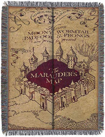 """Harry Potter, Marauder's Map Woven Tapestry Throw Blanket, 48"""" x 60"""": Amazon.ca: Home & Kitchen"""
