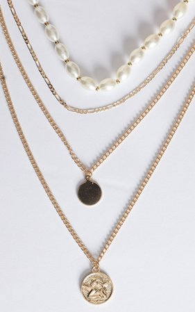 Celestina Layered Necklace In Gold And Pearl | Showpo