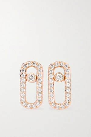 Rose gold Move Uno 18-karat rose gold diamond earrings | Messika | NET-A-PORTER