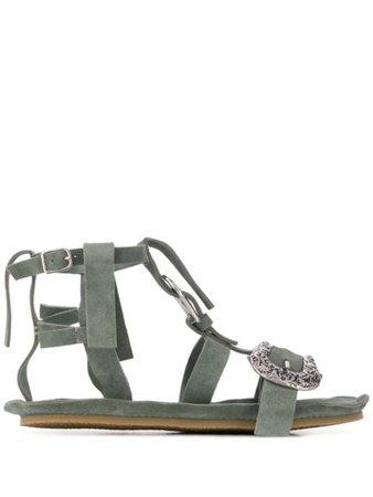 Acne Studios Western Buckle-Strap Sandals AD0240 Green   Farfetch