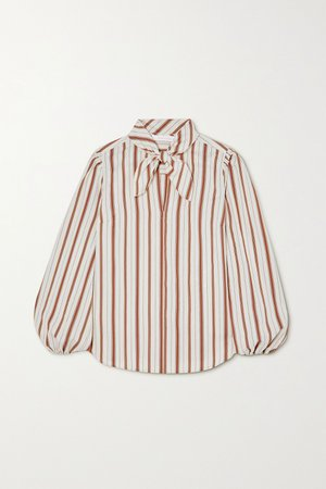 Ecru Pussy-bow striped crepe blouse   See By Chloé   NET-A-PORTER