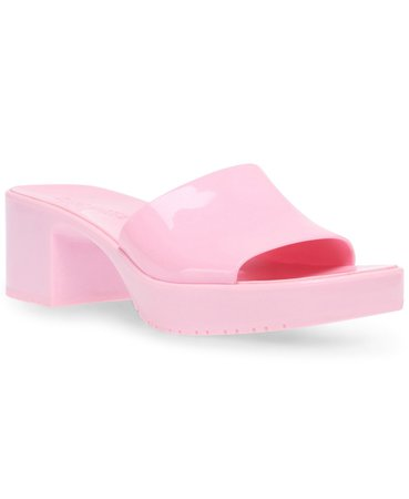 Steve Madden Women's Harlin Jelly Block-Heel Sandals & Reviews - Sandals - Shoes - Macy's pink
