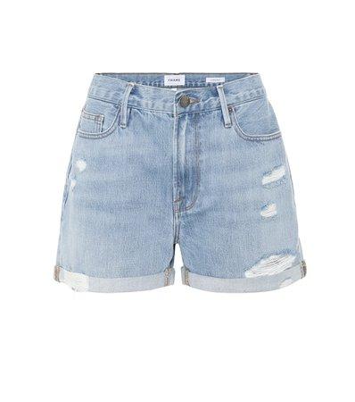 Frame - Le Beau distressed denim shorts   Mytheresa