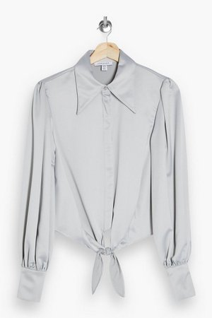 Silver Collar Satin Knot Front Blouse | Topshop