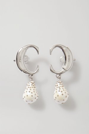 Silver Darcey silver-tone, faux pearl and crystal clip earrings | Chloé | NET-A-PORTER