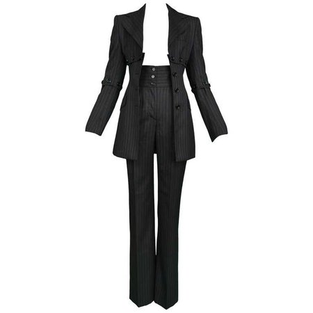 Dolce and Gabbana Vintage Pinstripe Pantsuit For Sale at 1stdibs