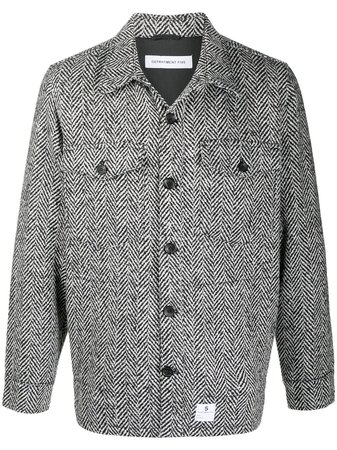 Shop white & black Department 5 herringbone knit shirt jacket with Express Delivery - Farfetch