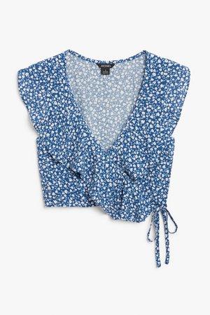 Wrap blouse - Blue - Shirts & Blouses - Monki WW