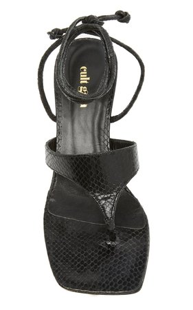 Vicky Tie-Detailed Snake-Effect Leather Sandals by Cult Gaia | Moda Operandi