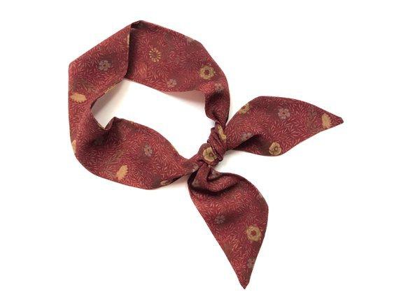 Burgundy Floral Short Skinny Scarf Head Wrap Ponytail Tote Bag | Etsy