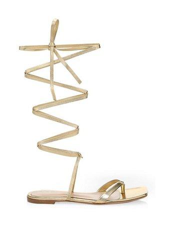 Gianvito Rossi Ribbon Metallic Leather Knee-High Gladiator Flat Sandals | SaksFifthAvenue
