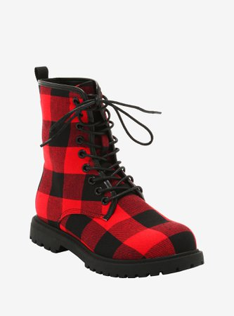Red & Black Gingham Combat Boots