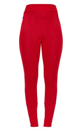 Red High Waisted Jersey Leggings | PrettyLittleThing USA
