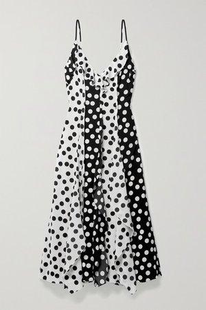 Ruffled Polka-dot Crepe Midi Dress - Black