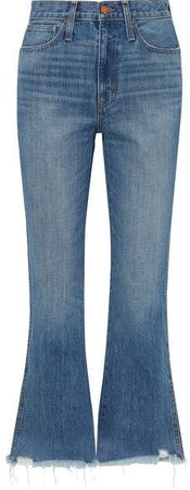 Rigid Flare Distressed Mid-rise Flared Jeans - Mid denim