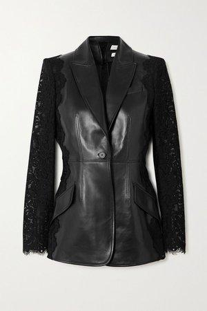 Black Leather and cotton-blend lace blazer | Alexander McQueen | NET-A-PORTER