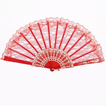 Heritage Costumes Lace Hand Fan Red Lace Fan