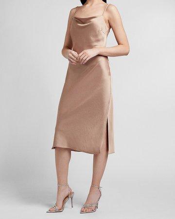 Satin Cowl Neck Midi Slip Dress
