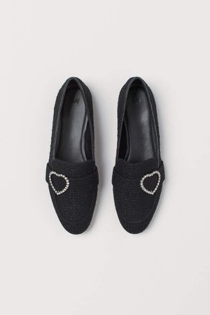 Loafers with Rhinestones - Black