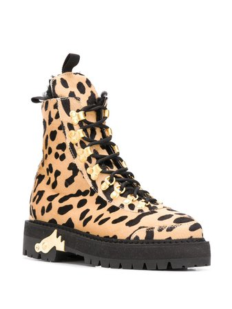 Off-White cheetah-print Combat Boots - Farfetch