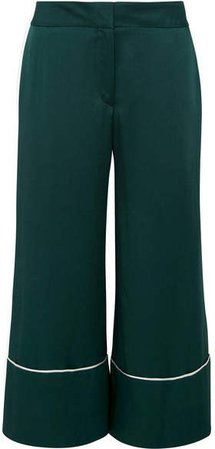 Cropped Hammered-satin Wide-leg Pants - Emerald
