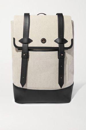 Upland Leather-trimmed Canvas Backpack - Black