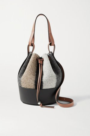 Balloon Small Leather-trimmed Striped Felt Shoulder Bag - Gray
