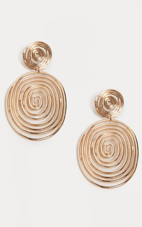 Gold Swirl Textured Disc Drop Earrings | PrettyLittleThing USA