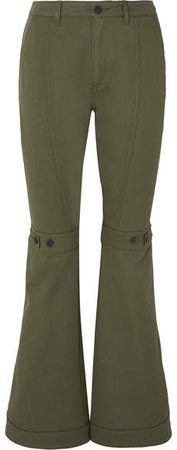 Button-detailed Cotton-twill Flared Pants - Army green
