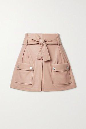 Belted Leather Shorts - Blush