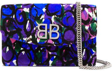 Bb Chain Printed Quilted Velvet Shoulder Bag - Blue