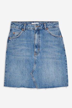 TALL Mid Blue Denim Mini Skirt   Topshop Blue