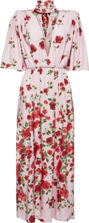 Magda Butrym Tie-Neck Floral Print Dress