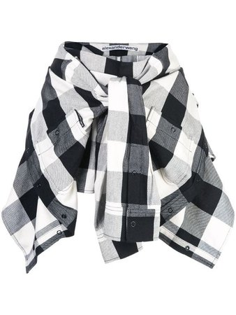 black and white tied waist flannel