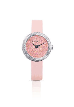 30mm Spiral, Pink and White Diamond, Pink satin strap | Graff