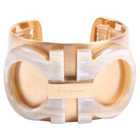 Salvatore Ferragamo, Gancini Cuff Bracelet in matte gold