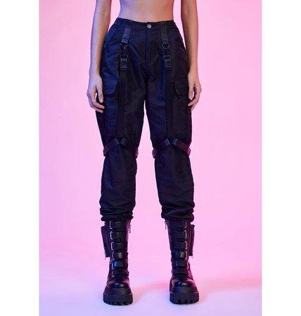 Current Mood Nylon Harness Cargo Pants - Black | Dolls Kill