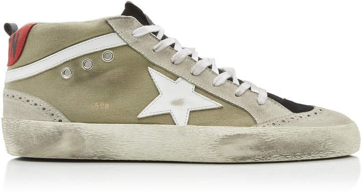 Mid Star Distressed Suede And Rubber Sneakers