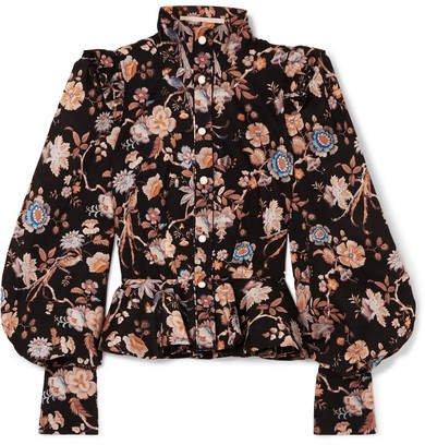 Anna Mason - Laila Floral-print Cotton-poplin Blouse - Black