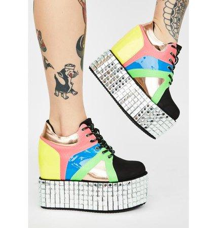 Studded Patent Platform Sneakers - Rainbow | Dolls Kill