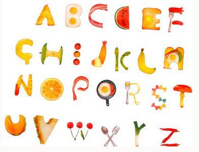 food alphabet stickers