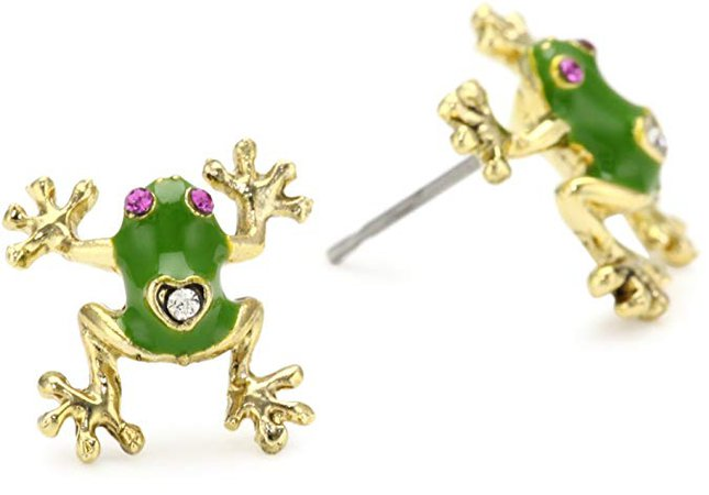 Betsey Johnson Green and Gold Frog Stud Earrings: Jewelry