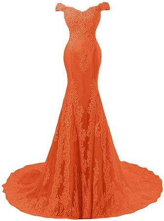 Amazon.com: Off Shoulder Mermaid Long Lace Beaded Prom Dress Corset Evening Gowns Burnt Orange US 4: Clothing