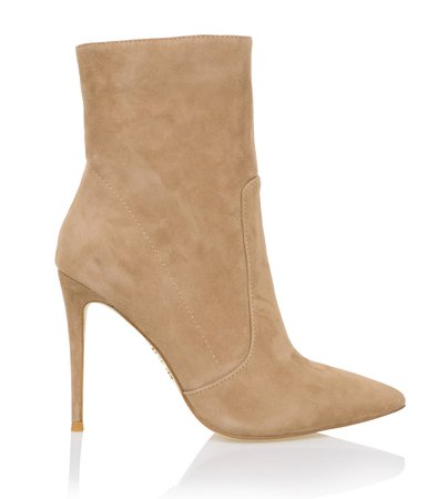 Shoes: 'Serpenti' Tan Suede Stiletto Ankle Boot